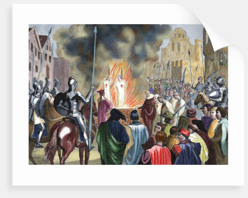 Burning Templar in the 14th century by Corbis