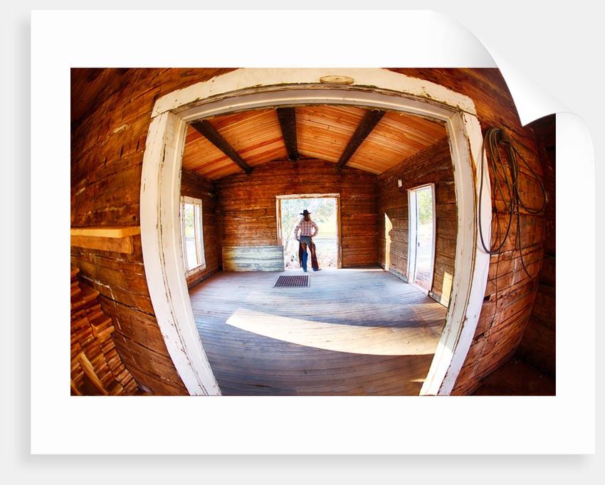 Cowgirl in doorway of old cabin by Corbis