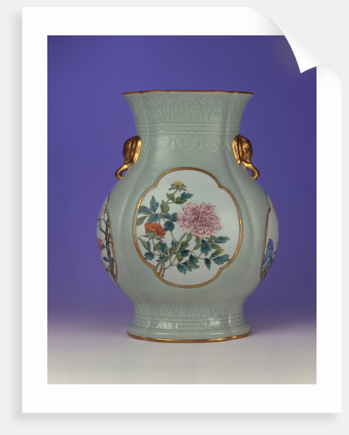 A fine and very rare famille rose celadon-ground vase with a gilt outlined enamel of prunus and roses, one of four enamels depicting the 'Flowers of the Four Seasons' by Corbis