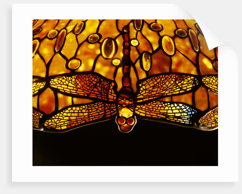 Detail of Tiffany Studios dichroic 'Dragonfly' leaded glass and bronze floor lamp by Corbis