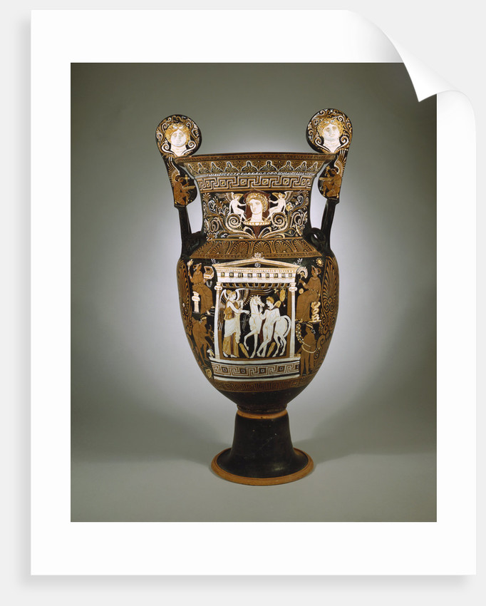 A large red-figure Apulian volute krater depicting a naikos (young warrior) and a winged Nike by Corbis