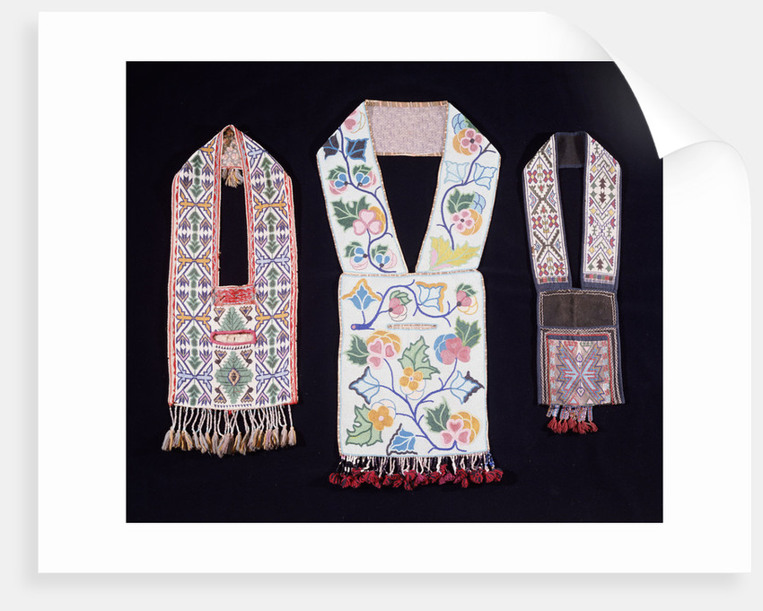 A Potawatomi beaded cloth shoulder bag and two Great Lakes region cloth shoulder bags by Corbis