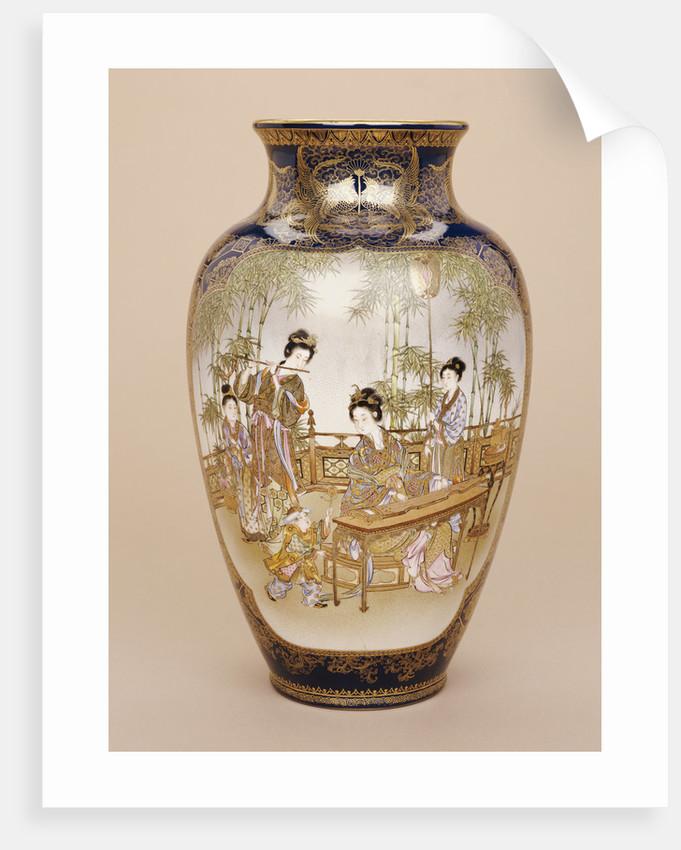 A large Kinkozan vase depicting a lady playing a koto with ladies and children beneath a wisteria by Corbis