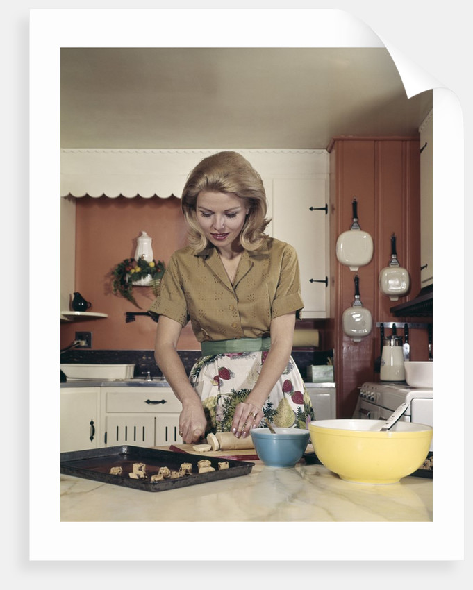 1960s woman kitchen baking cookies apron mixing bowl posters