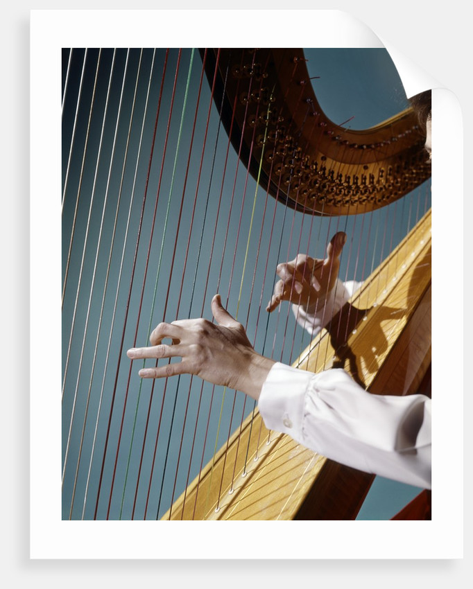 1960 1960s Retro Close Up Of Womans Hands Playing Harp Plucking Strings by Corbis