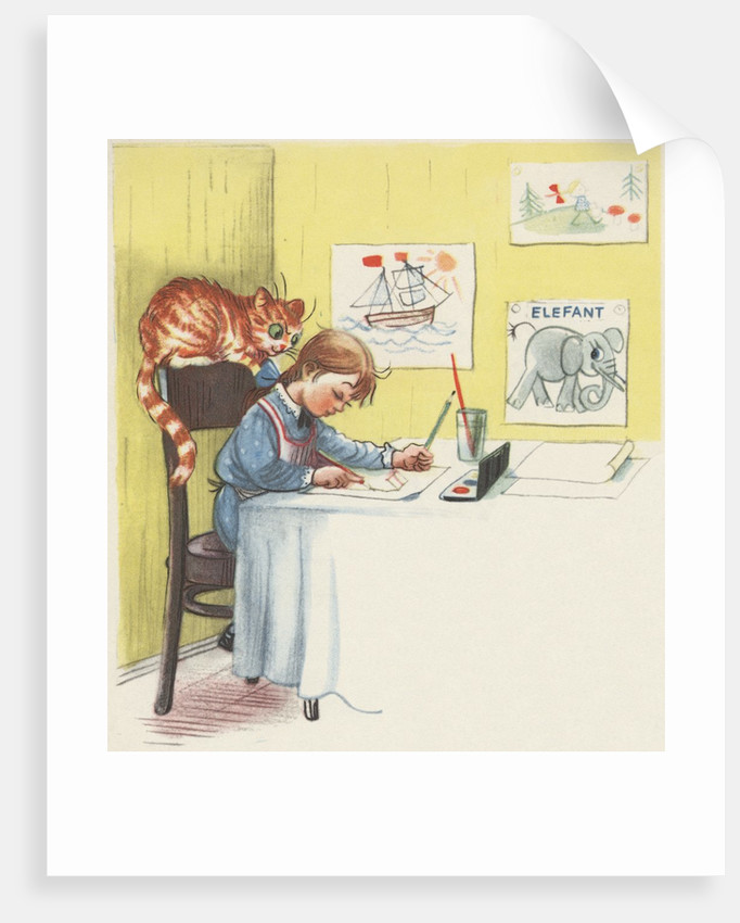 Girl painting with her cat by Corbis