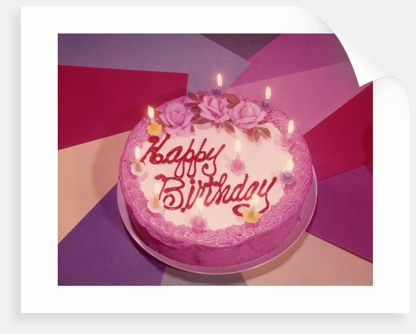 1960s Birthday Cake With Ten Candles Lit Posters Prints By Corbis