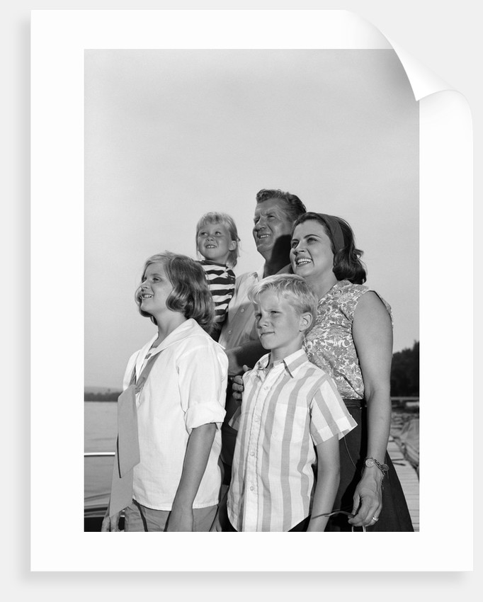 9941cdb9a 1960s Smiling Family Portrait Father Mother Two Daughters Son Standing  Together Outdoors by Corbis