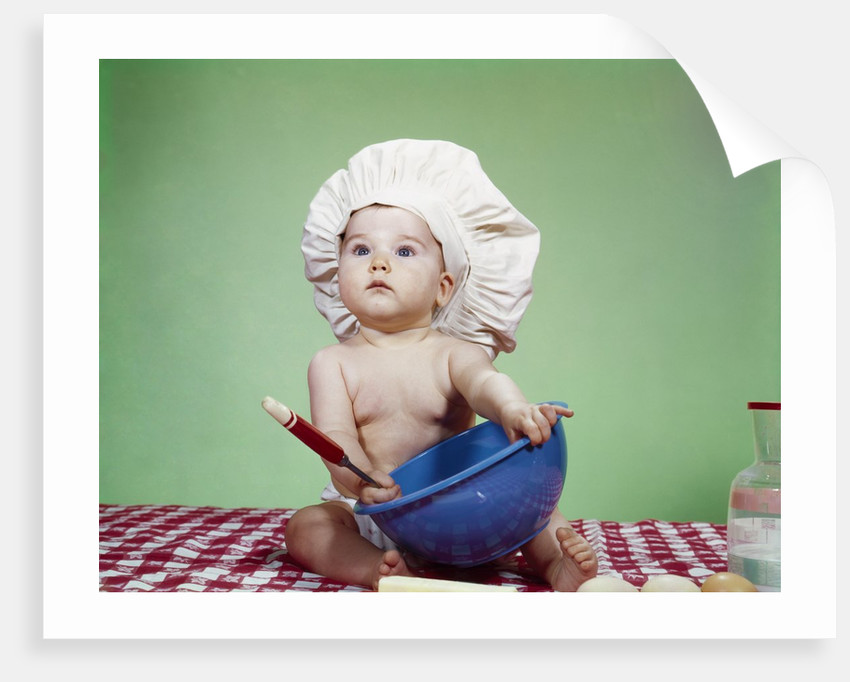 935d1fb41 1960s Serious Baby In Chef Hat With Mixing Bowl And Spoon