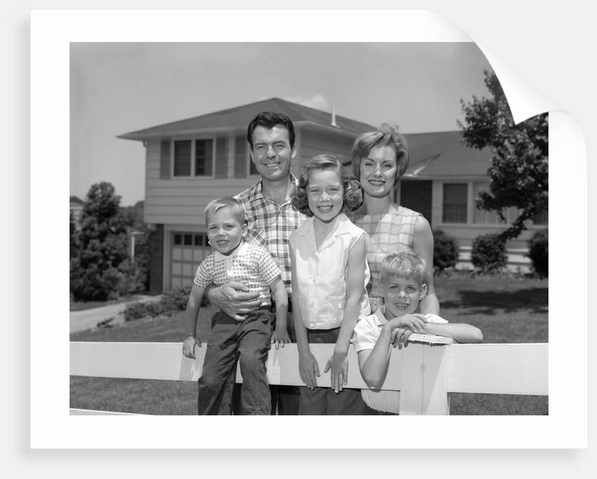 1960s family portrait in front of horse by corbis