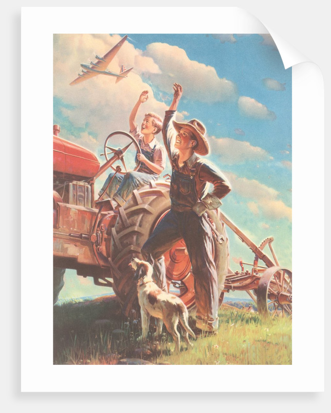 Farmer and Son Waving to Airplane by Corbis