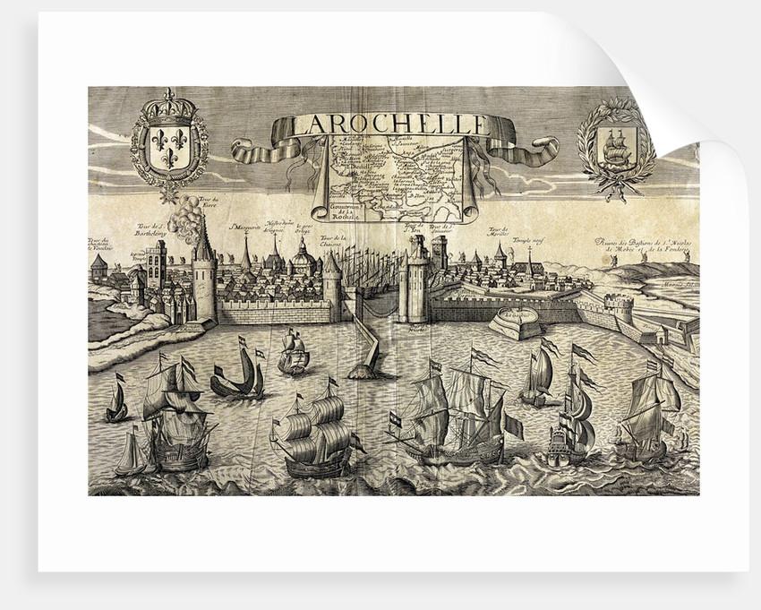 La Rochelle. Map of the city on the Atlantic. 16th century. by Corbis