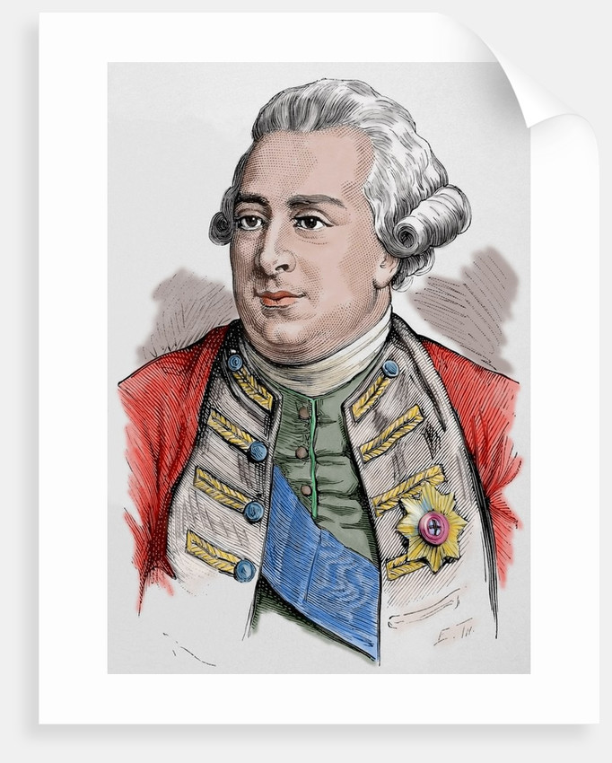 George III of the United Kingdom (1738-1829). Colored engraving. by Corbis
