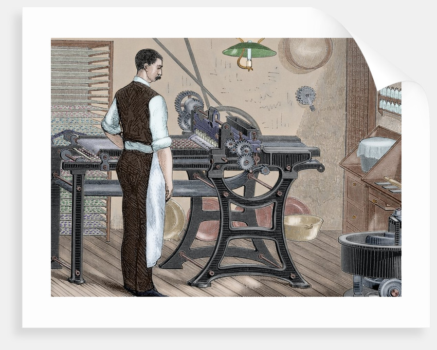 History of medicine. Machinery. Cartoning pills. Engraving. 19th century. Colored. by Corbis
