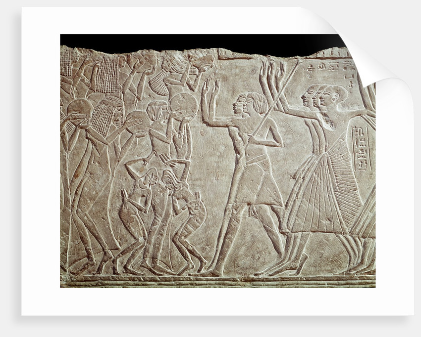 Ancient Egyptian bas-relief depicting farewell to the deceased by Corbis
