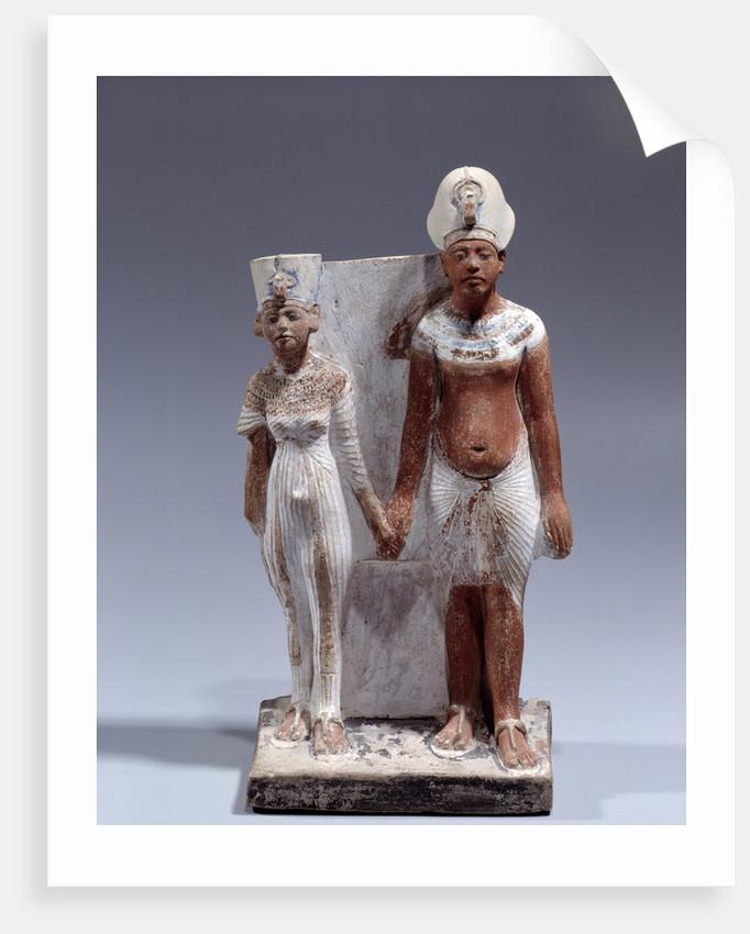 Statuette of Amenophis IV (Akhenaten) and Nefertiti by Corbis