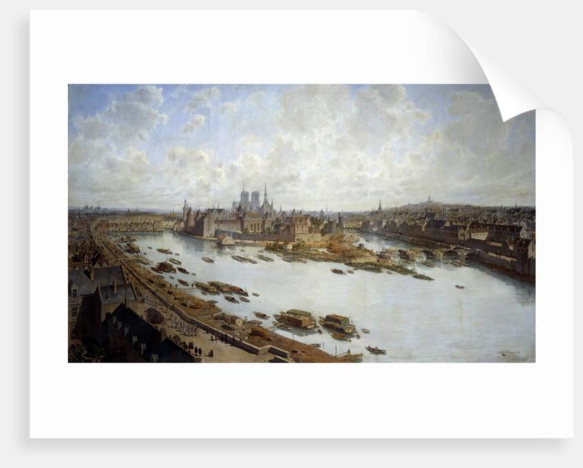 Panoramic view of Paris and the Ile de la Cite in 1588 by Theodore Joseph Hubert Hoffbauer