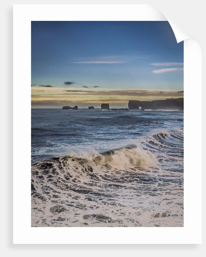 Waves crashing on the beach, Dyrholaey, Iceland