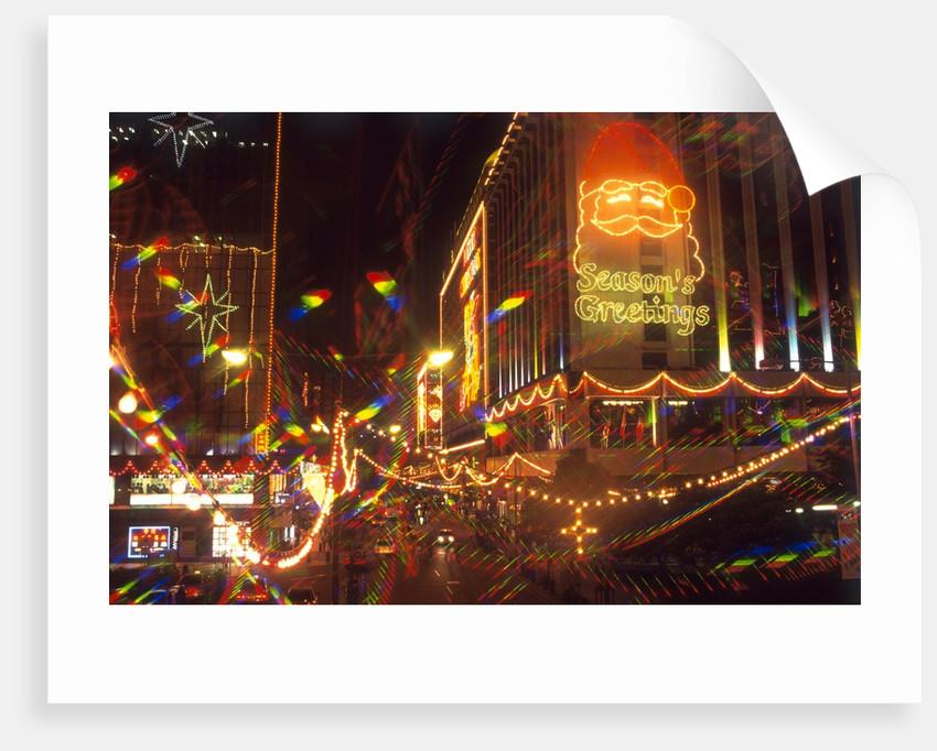 View of Christmas decorations, Kowloon, Hong Kong, China by Corbis