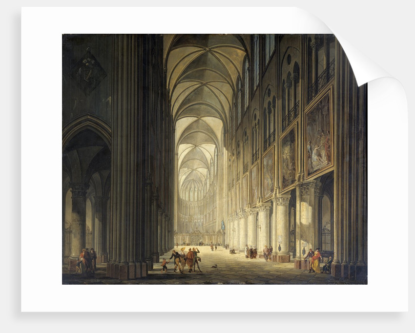 Interior view of the cathedral Notre Dame de Paris by J. F. Depelchin