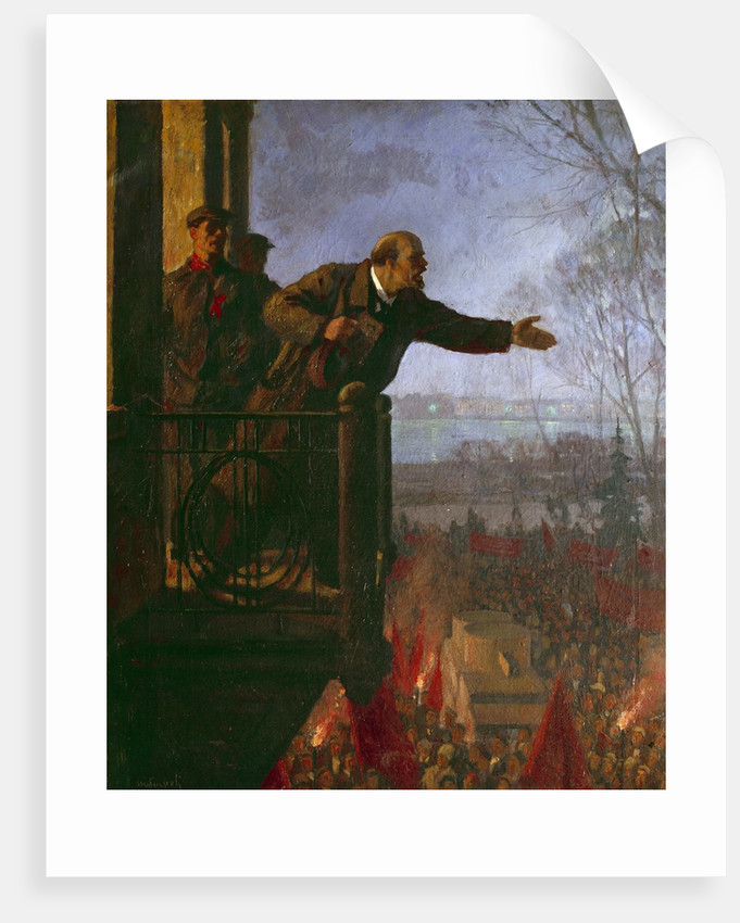 Lenin on the balcony of the Kschessinska Mansion by Corbis