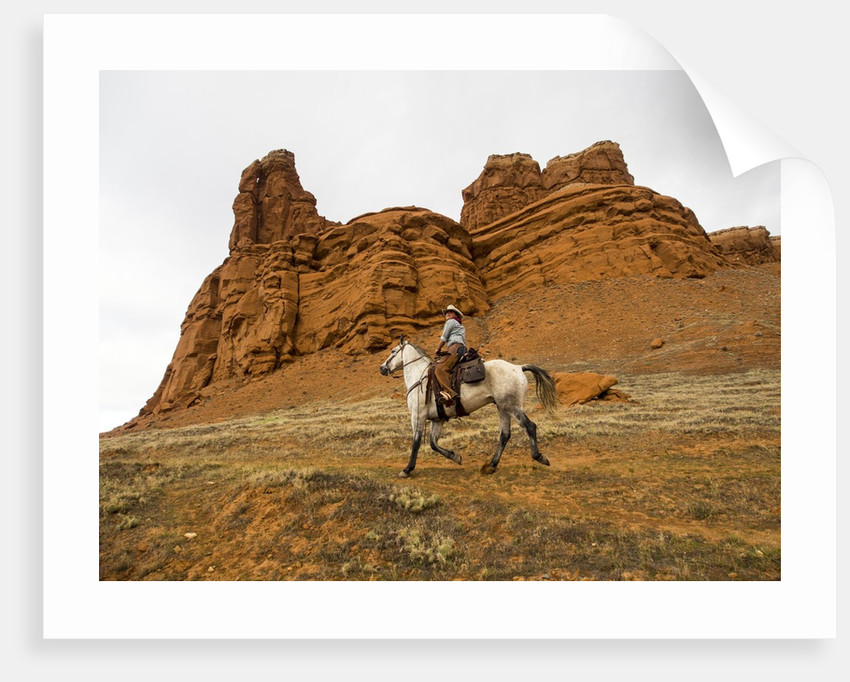 Cowgirl at Full Gallop with red rock hills by Corbis