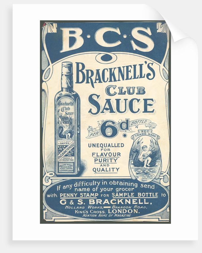 Bracknell's Club Sauce, 1890s. by Corbis