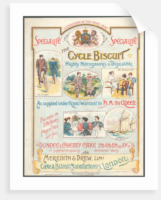 Meredith & Drew Cycle Biscuits, 1890s. by Corbis