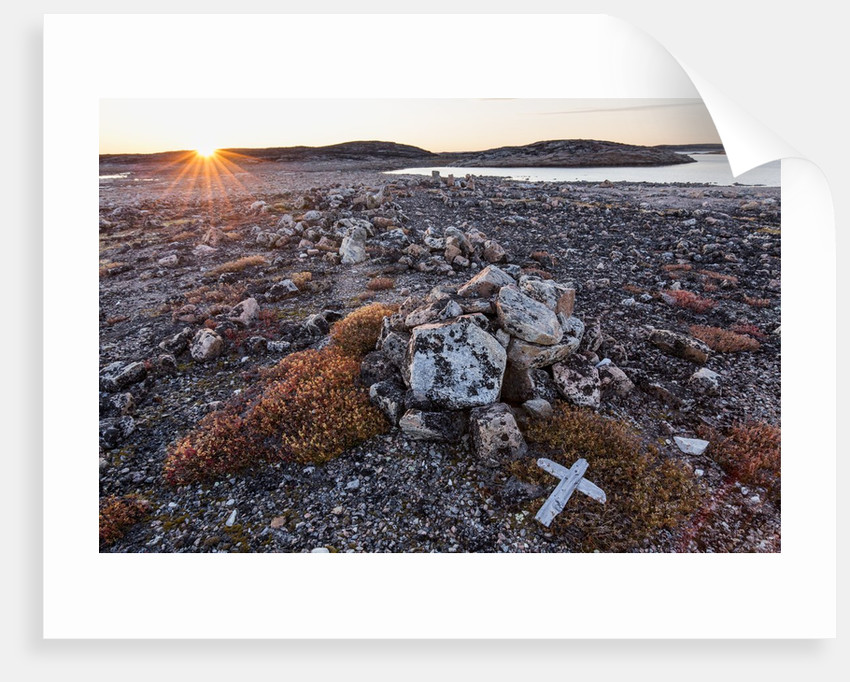 Stone Cairn in Arctic, Nunavut Territory, Canada by Corbis