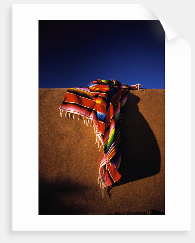 Southwest Blanket On Adobe Wall