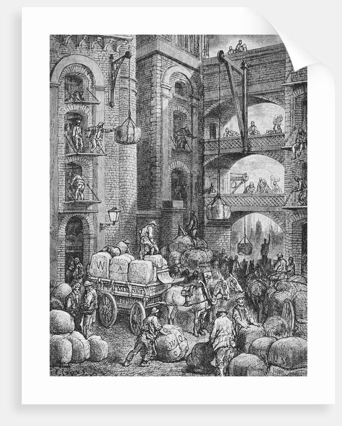 Engraving of Workers at a London Warehouse by Gustave Dore