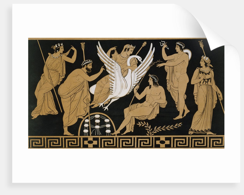 19th Century Greek Vase Illustration of Zeus Abducting Leda in the form of a Swan by Corbis