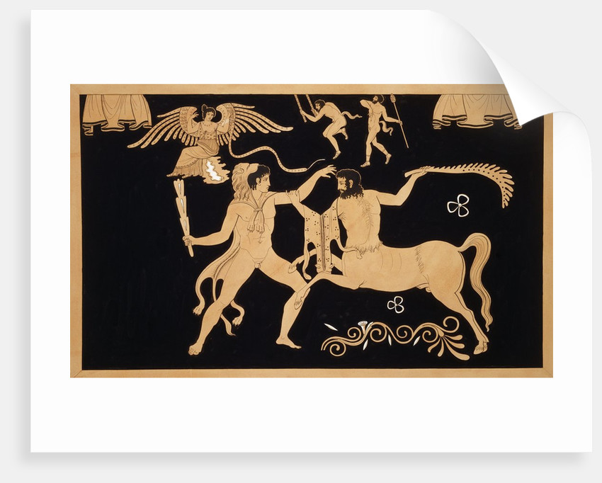 19th Century Antique Vase Illustration of Hercules Fighting Centaur Chiron by Corbis