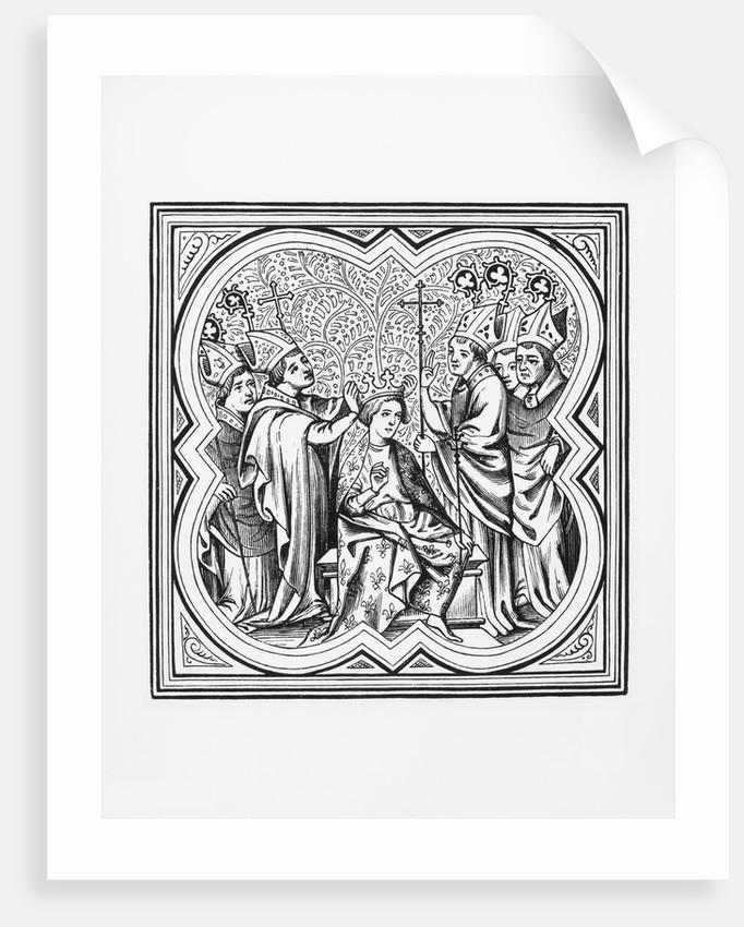 King Charlemagne's Coronation from the Chroniques de St Denis Manuscript by Corbis