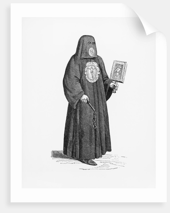 Illustration of a Member of the Brotherhood of Death after a 16th-Century Woodcut by Corbis