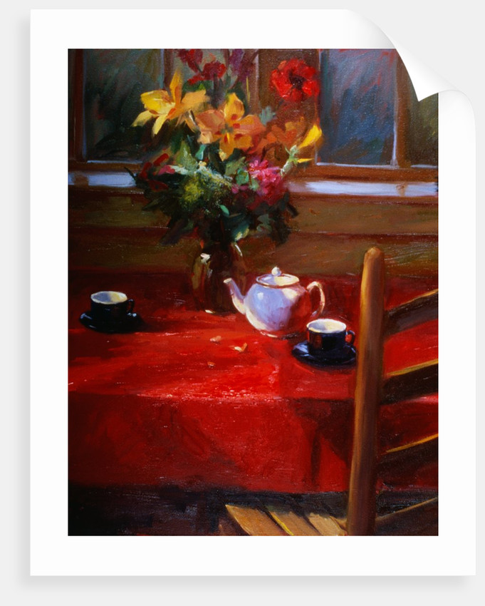 Flowers and Teapot on Red by Pam Ingalls
