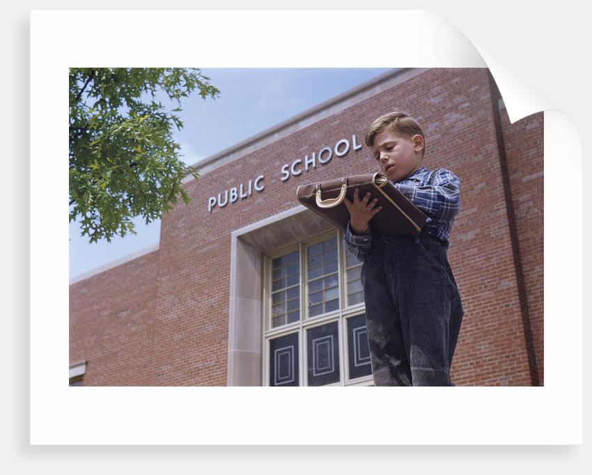Boy Standing Outside School by Corbis