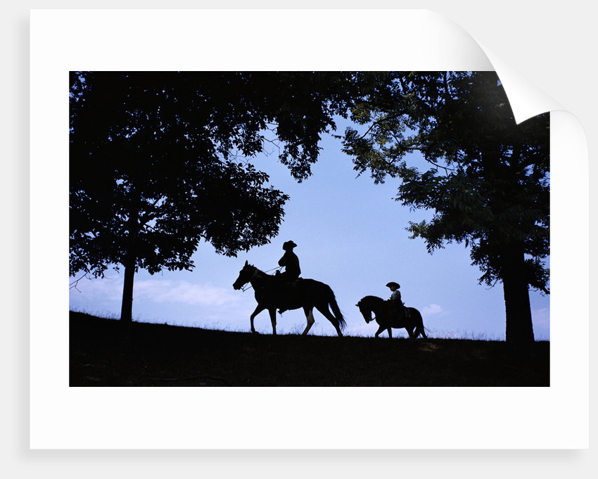 Father and Son Riding Horses by Corbis
