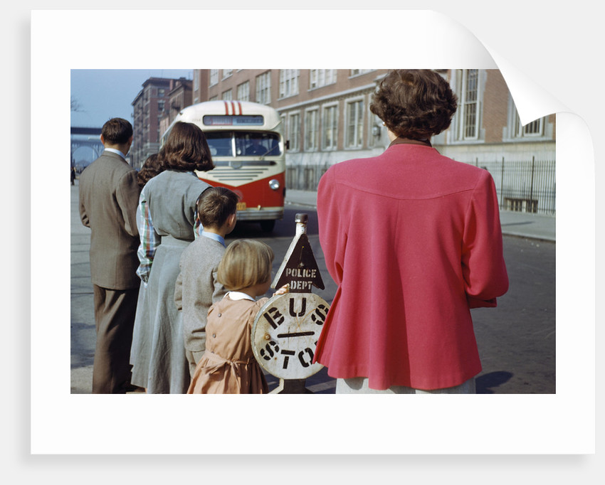 Waiting for Bus on City Street by Corbis