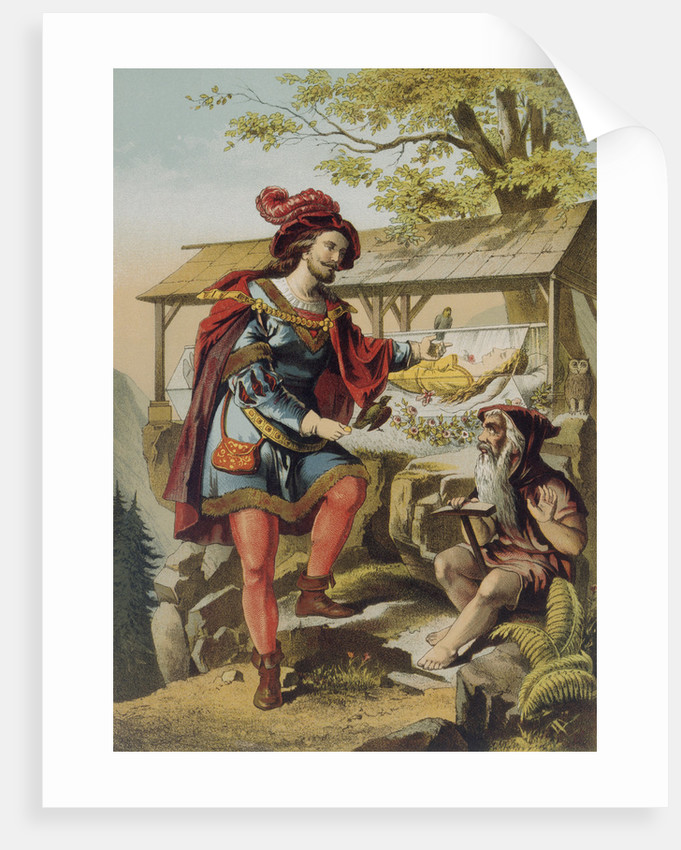 Illustration of Snow White, the Prince and a Dwarf by Carl Offterdinger