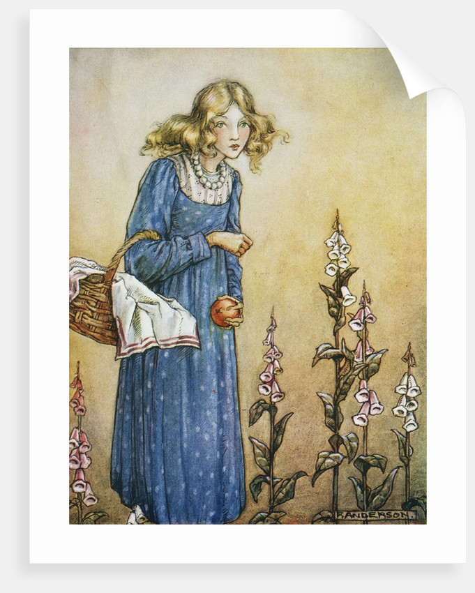 Book Illustration Depicting a Girl Holding a Basket by Florence Mary Anderson