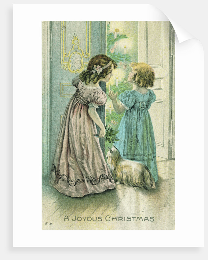 A Joyous Christmas Postcard with Little Girls Looking at the Christmas Tree by Corbis