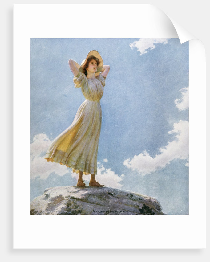 Illustration of a Woman on the Top of a Mountain by Charles Courtney Curran