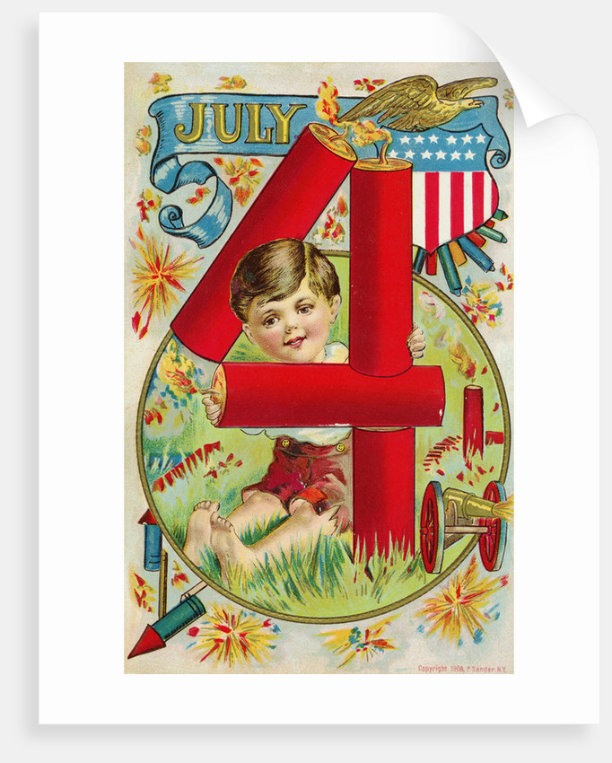 July 4 Postcard with Firecrackers by Corbis