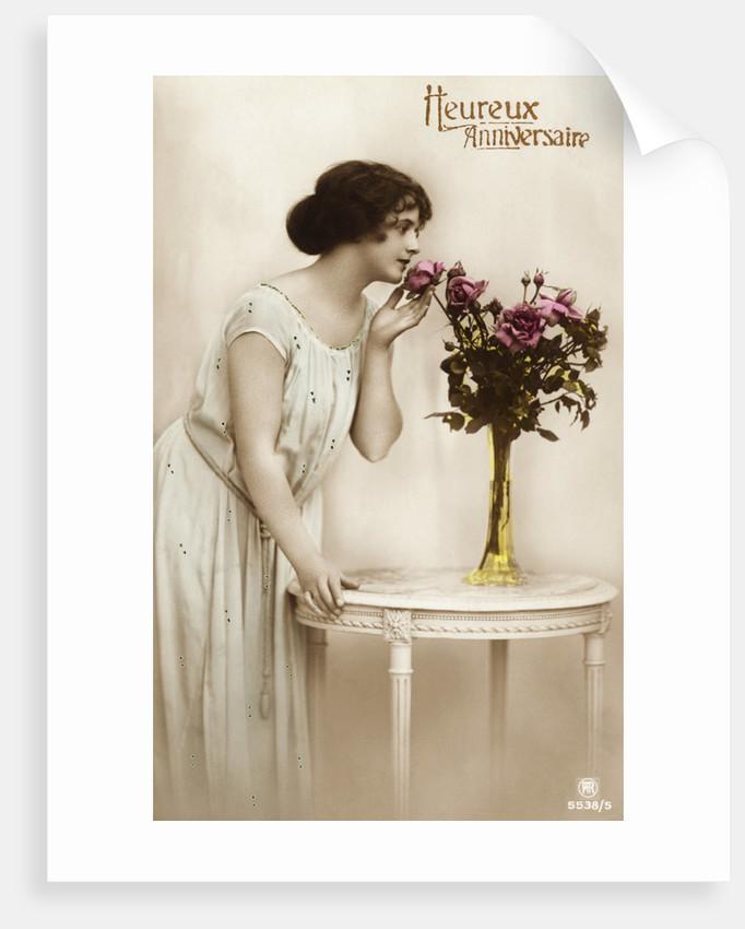 Heureux Anniversaire Postcard by Corbis