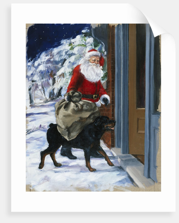 Carl Helping Santa Claus from Carl's Christmas by Alexandra Day