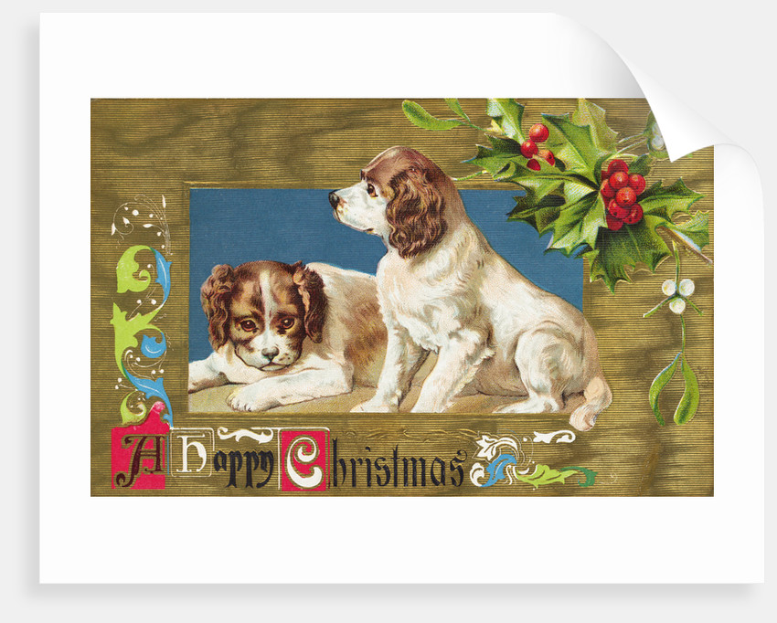 A Happy Christmas Embossed and Gilded Chromolithograph Postcard by Corbis