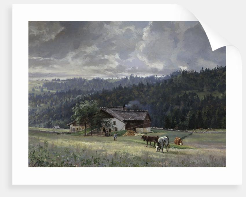 Chalet in an Alpine Landscape by Edouard Jenmaire