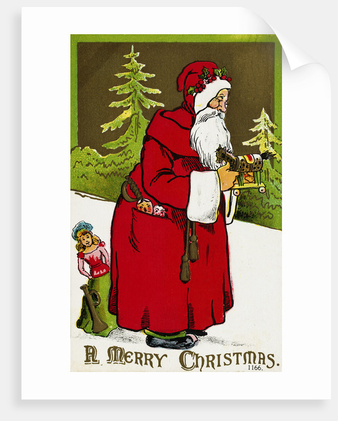 Christmas Postcards.A Merry Christmas Postcard With Santa Claus Holding A Toy