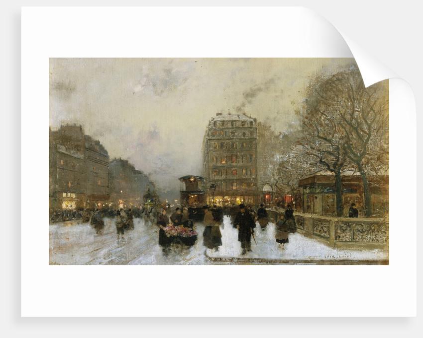 A Paris Street Scene in Winter by Luigi Loir